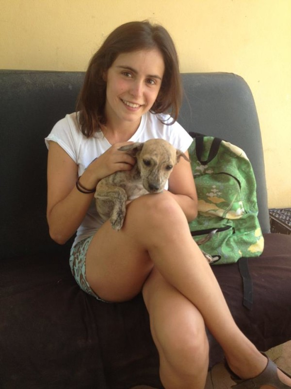 sofia with a puppy at Simabo